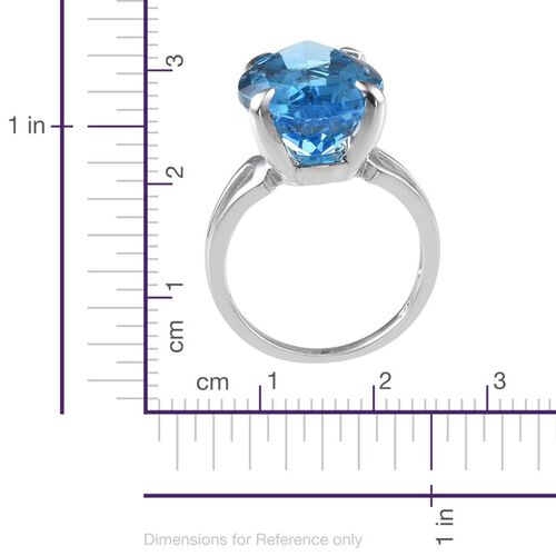 Electric Swiss Blue Topaz (Pear) Ring in Platinum Overlay Sterling Silver 18.000 Ct.