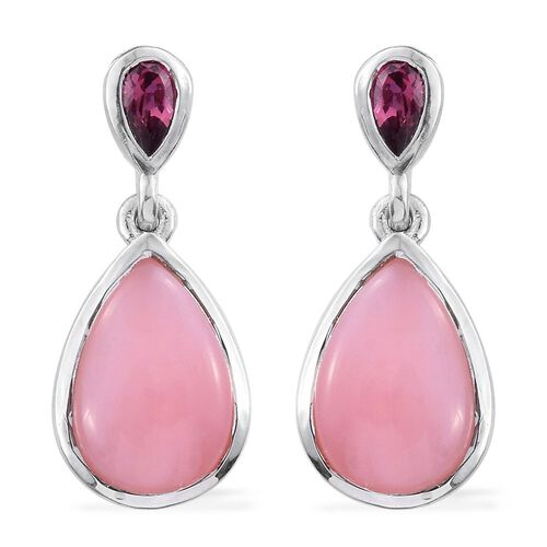 Natural Peruvian Pink Opal (Pear), Rhodolite Garnet Earrings (with Push Back) in Platinum Overlay Sterling Silver 5.500 Ct.