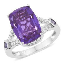 Lavender Alexite Triplet Quartz (Cush 6.60 Ct), Iolite Ring in Platinum Overlay Sterling Silver 6.750 Ct.