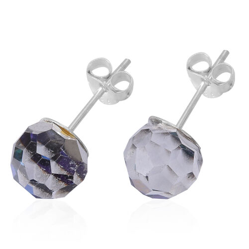 Blue Faceted AAA Austrian Crystal (Rnd 8MM) Stud Earrings (with Push Back) in Sterling Silver 8.000 Ct.