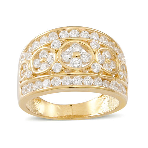AAA Simulated Diamond (Rnd) Ring in 14K Gold Overlay Sterling Silver