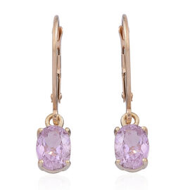 9K Y Gold AAA Urucum Kunzite (Ovl) Earrings 2.250 Ct.