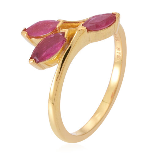African Ruby (Mrq 0.55 Ct) 3 Stone Crossover Ring in Yellow Gold Overlay Sterling Silver 1.250 Ct.