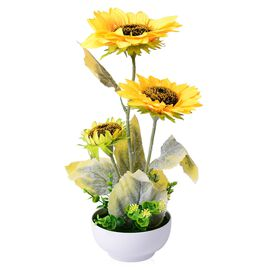 (Option 4) Home Decor - Sunflower Artificial Potted Plant (Size 40x38 Cm)