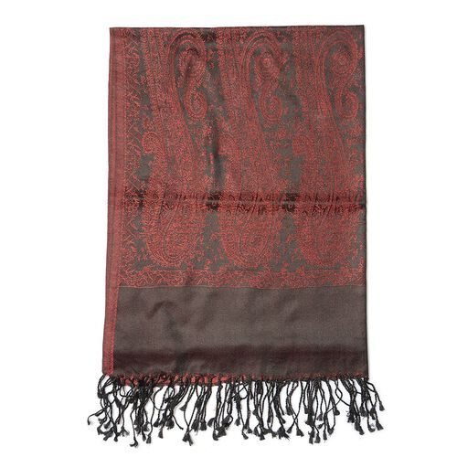 100% Superfine Silk Dark Red Colour Jacquard Jamawar Shawl with Fringes (Size 185x70 Cm) (Weight 125 - 140 Grams)