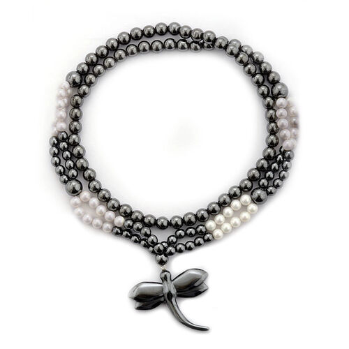 Creature Couture- Dragonfly Necklace (Size 32) with White Shell Pearl and Hematite 750.000 Ct.