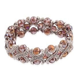 Simulated Amethyst and White Austrian Crystal Stretchable Bracelet (Size 7.5) in Silver Tone