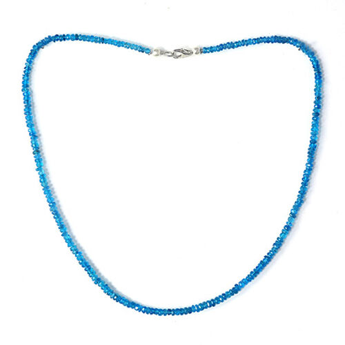 Malgache Neon Apatite (Rnd) Necklace (Size 18) in Sterling Silver 44.800 Ct.