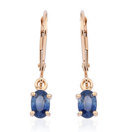 ILIANA 18K Y Gold Kanchanaburi Blue Sapphire (Ovl) Lever Back Earrings 1.250 Ct.