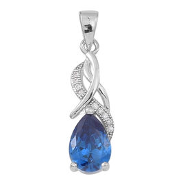 ELANZA AAA Simulated Blue Sapphire (Pear), Simulated White Diamond Pendant in Rhodium Plated Sterling Silver