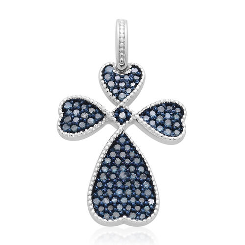 Blue Diamond (Rnd) Cross Pendant in Rhodium Plated Sterling Silver 0.500 Ct.