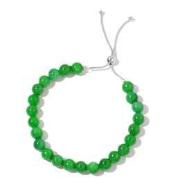OTO - Rare Green Jade Adjustable Beads Bracelet (Size 6.5 to 9.5) in Sterling Silver 90.00 Ct.