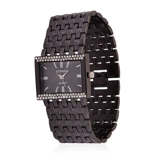 STRADA Japanese Movement Black Sunshine Dial with White Austrian Crystal Water Resistant Bracelet Watch in Black Tone with Stainless Steel Back