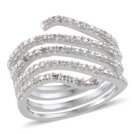 Diamond (Rnd) Spiral Ring in Platinum Overlay Sterling Silver 0.250 Ct.