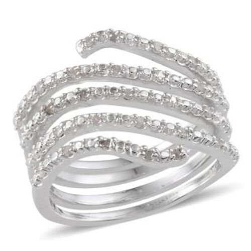 Diamond (Rnd) Spiral Ring in Platinum Overlay Sterling Silver 0.250 Ct.