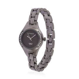 STRADA Japanese Movement Sunshine Pattern Black Dial with White Austrian Crystal Water Resistant Watch in Black Tone with Stainless Steel Back and Chain Strap