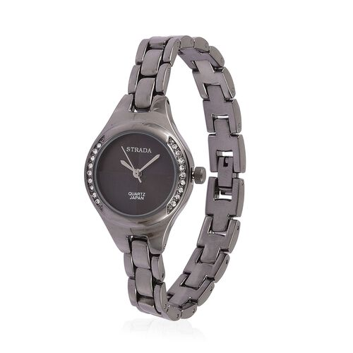 STRADA Japanese Movement White Austrian Crystal Studded Watch in Black Tone with Chain Strap