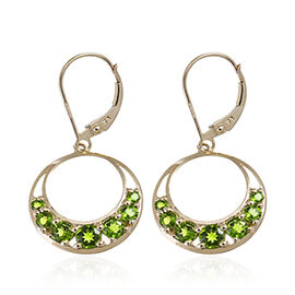 Russian Diopside (Rnd) Lever Back Earrings in 14K Gold Overlay Sterling Silver 7.260 Ct.