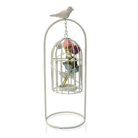 White Antique Style Decorative hanging Birdcage Candle Holder and Stand