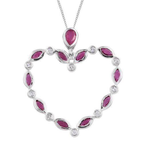 African Ruby (Mrq), White Topaz Heart Pendant With Chain in Platinum Overlay Sterling Silver 2.100 Ct.