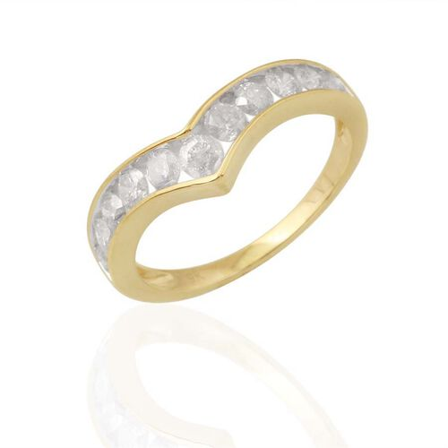 9K Y Gold SGL Certified Diamond (Rnd) (I3/ G-H) V Shape Ring 1.000 Ct.