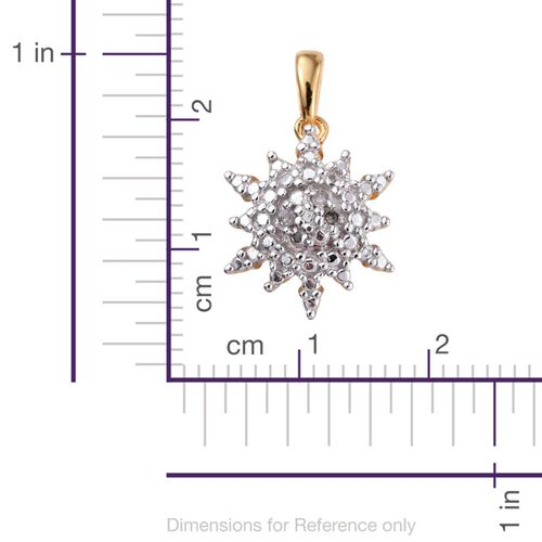 Diamond (Rnd) Starburst Pendant in 14K Gold Overlay Sterling Silver
