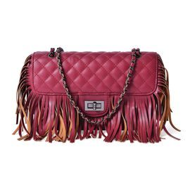 Burgundy Colour Diamond Pattern Shoulder Bag with Tassels (Size 25x16x7 Cm)