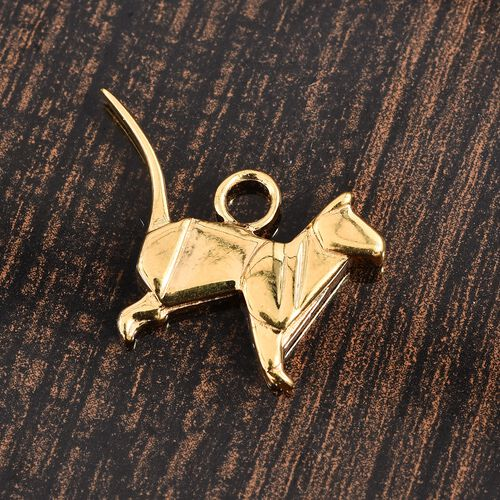 14K Gold Overlay Sterling Silver Origami Cat Silver Charm, Silver wt 3.74 Gms.