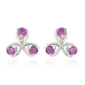 Rhodolite Garnet (Rnd), Yellow Sapphire Stud Earrings in Sterling Silver 1.000 Ct.
