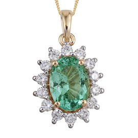 ILIANA 18K Y Gold Boyaca Colombian Emerald (Ovl 1.75 Ct), Diamond (SI/G-H) Pendant With Chain 2.250 Ct.