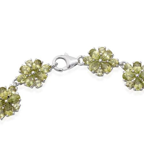 AA Hebei Peridot (Pear) Bracelet (Size 7.5) in Platinum Overlay Sterling Silver 14.250 Ct.