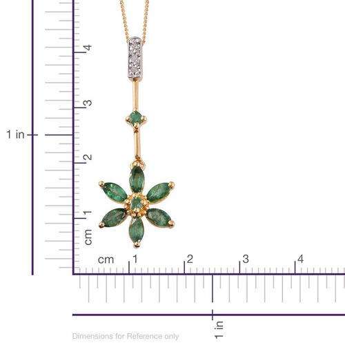 Kagem Zambian Emerald (Mrq), Diamond Floral Pendant With Chain in 14K Gold Overlay Sterling Silver 1.000 Ct.