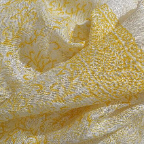 Yellow Colour Handblock Scrub Printed White Colour Scarf (Size 180x70 Cm)