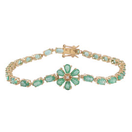 Limited Edition 9K Y Gold AAA Kagem Zambian Emerald (Ovl), Diamond Floral Bracelet (Size 7.5) 6.500 Ct.
