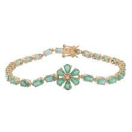 Limited Edition 9K Y Gold AAAA Kagem Zambian Emerald (Ovl), Diamond Floral Bracelet (Size 7.5) 6.500 Ct.