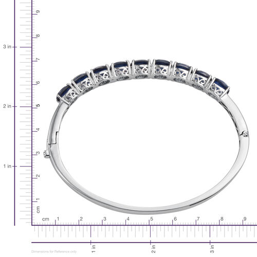 Ceylon Colour Quartz (Ovl) Bangle (Size 7.5) in ION Plated Platinum Bond 14.000 Ct.