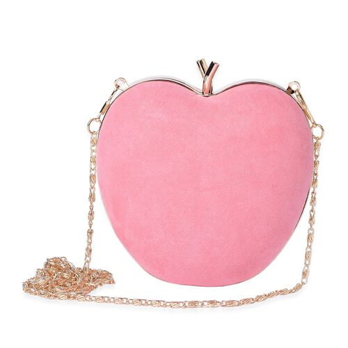 Amour Velvet Dusk Pink Colour Apple Clutch Bag With Removable Golden Chain (Size 15x14 Cm)