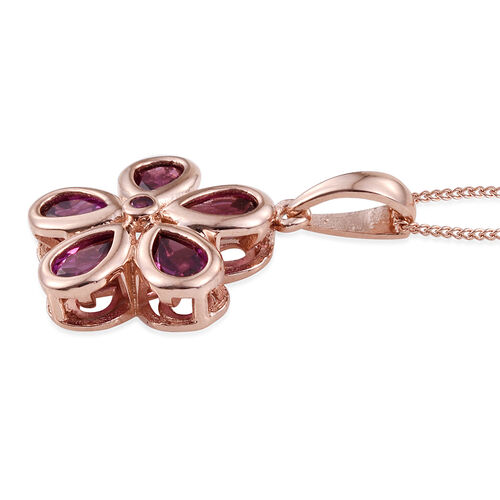 Rare Mozambique Grape Colour Garnet (Pear) Floral Pendant With Chain in Rose Gold Overlay Sterling Silver 2.500 Ct.