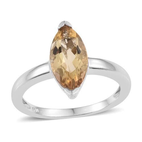 Citrine (Mrq) Solitaire Ring in Platinum Overlay Sterling Silver 2.500 Ct.