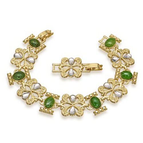 Jade and Austrian Crystal Adjustable Bracelet with 1 Removable Link (Size 7.5)