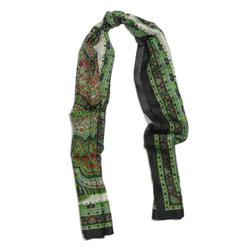 100% Mulberry Silk Green, Black and Multi Colour Paisley Hand Screen Printed Scarf (Size 170X50 Cm)