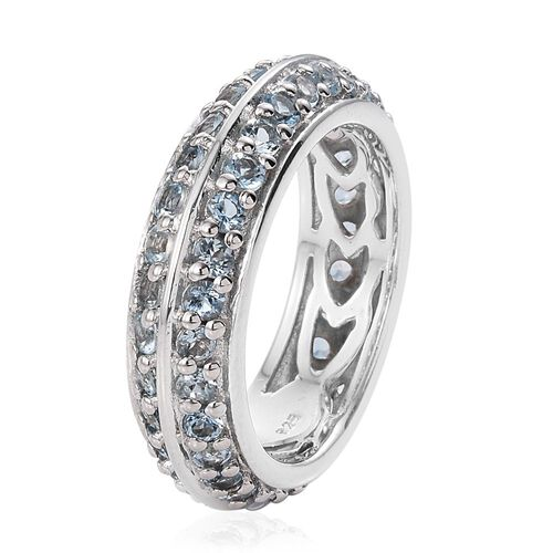Two Row Aquamarine 1.90 Ct Silver Full Eternity Stacker Ring in Platinum Overlay