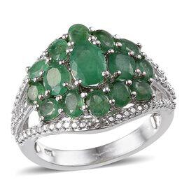 Kagem Zambian Emerald (Ovl 0.50 Ct), Diamond Ring in Platinum Overlay Sterling Silver 3.020 Ct.