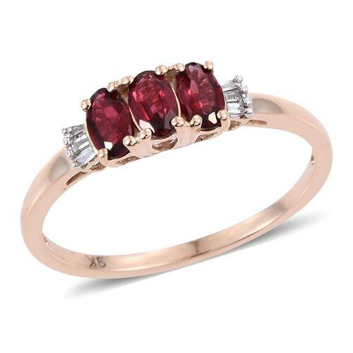 9K Y Gold Mahenge Spinel (Ovl), Diamond Ring 0.800 Ct.