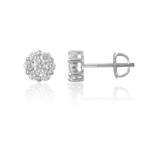 ILIANA 18K W Gold IGI Certified Diamond (Rnd) (SI/G-H) Earrings 1.000 Ct.
