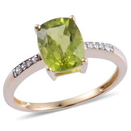 9K Y Gold AAA Hebei Peridot (Cush 2.00 Ct), White Zircon Ring 2.060 Ct.