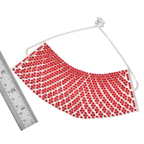 AAA Red Austrian Crystal Adjustable Bracelet (Size 6.5 to 11.5) in Silver Tone