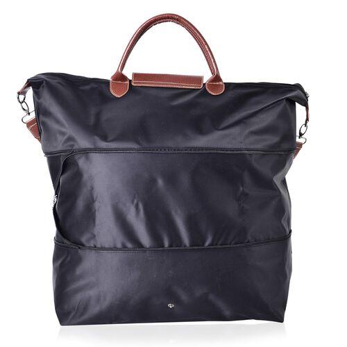 Designer Inspired- Black Colour Foldable Travel Bag with Shoulder Strap (Size 58x52x42x21 Cm)