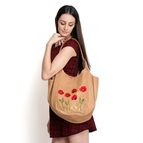 Genuine Leather Floral Embroidered Tan Colour Handbag