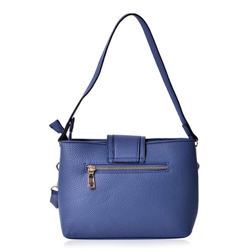 Snake Embossed Blue Colour Crossbody Bag With Adjustable and Removable Shoulder Strap (Size 26x18x10 Cm)